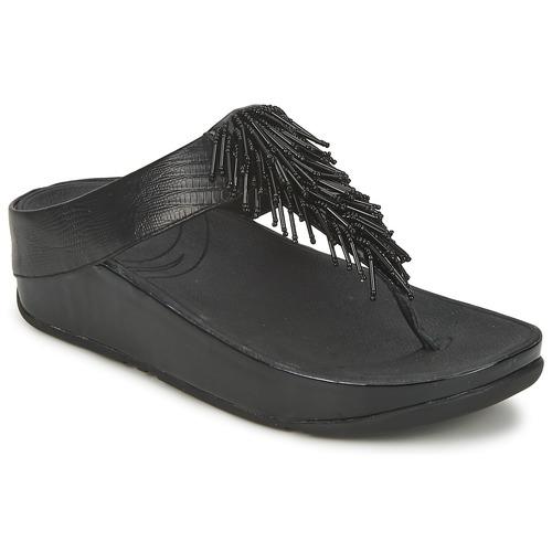 Schuhe Damen Zehensandalen FitFlop CHACHA Schwarz