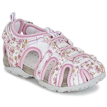 Schuhe Mädchen Sportliche Sandalen Geox S.ROXANNE C Weiss / Rose