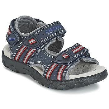Schuhe Mädchen Sportliche Sandalen Geox S.STRADA A Marine / Rot