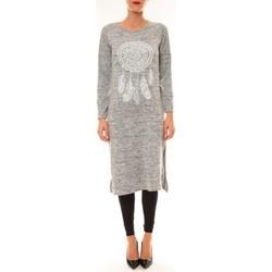 Kleidung Damen Maxikleider By La Vitrine Robe Plume gris clair Grau