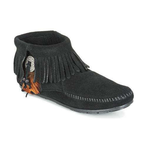 Minnetonka CONCHO FEATHER SIDE ZIP BOOT Schwarz  Schuhe Boots Damen 56,99