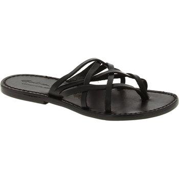 Schuhe Damen Sandalen / Sandaletten Gianluca - L'artigiano Del Cuoio 543 D NERO CUOIO nero