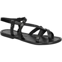 Schuhe Damen Sandalen / Sandaletten Gianluca - L'artigiano Del Cuoio 530 D NERO CUOIO nero