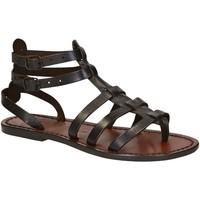 Schuhe Damen Sandalen / Sandaletten Gianluca - L'artigiano Del Cuoio 506 D MORO CUOIO Testa di Moro