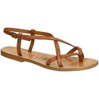 Schuhe Damen Sandalen / Sandaletten Gianluca - L'artigiano Del Cuoio 537 D CUOIO CUOIO Cuoio