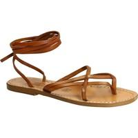 Schuhe Damen Sandalen / Sandaletten Gianluca - L'artigiano Del Cuoio 514 D CUOIO CUOIO Cuoio