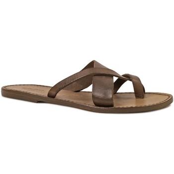 Schuhe Damen Sandalen / Sandaletten Gianluca - L'artigiano Del Cuoio 545 D FANGO CUOIO Fango