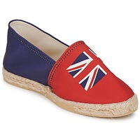 Schuhe Damen Leinen-Pantoletten mit gefloch Be Only KATE Rot-blau