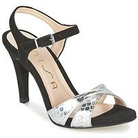 Schuhe Damen Sandalen / Sandaletten Unisa WARIAN Schwarz / Silbern