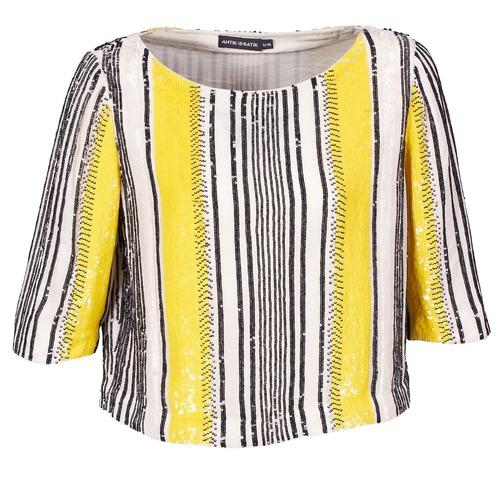 Kleidung Damen Tops / Blusen Antik Batik ZABOU Gelb / Weiss / Schwarz