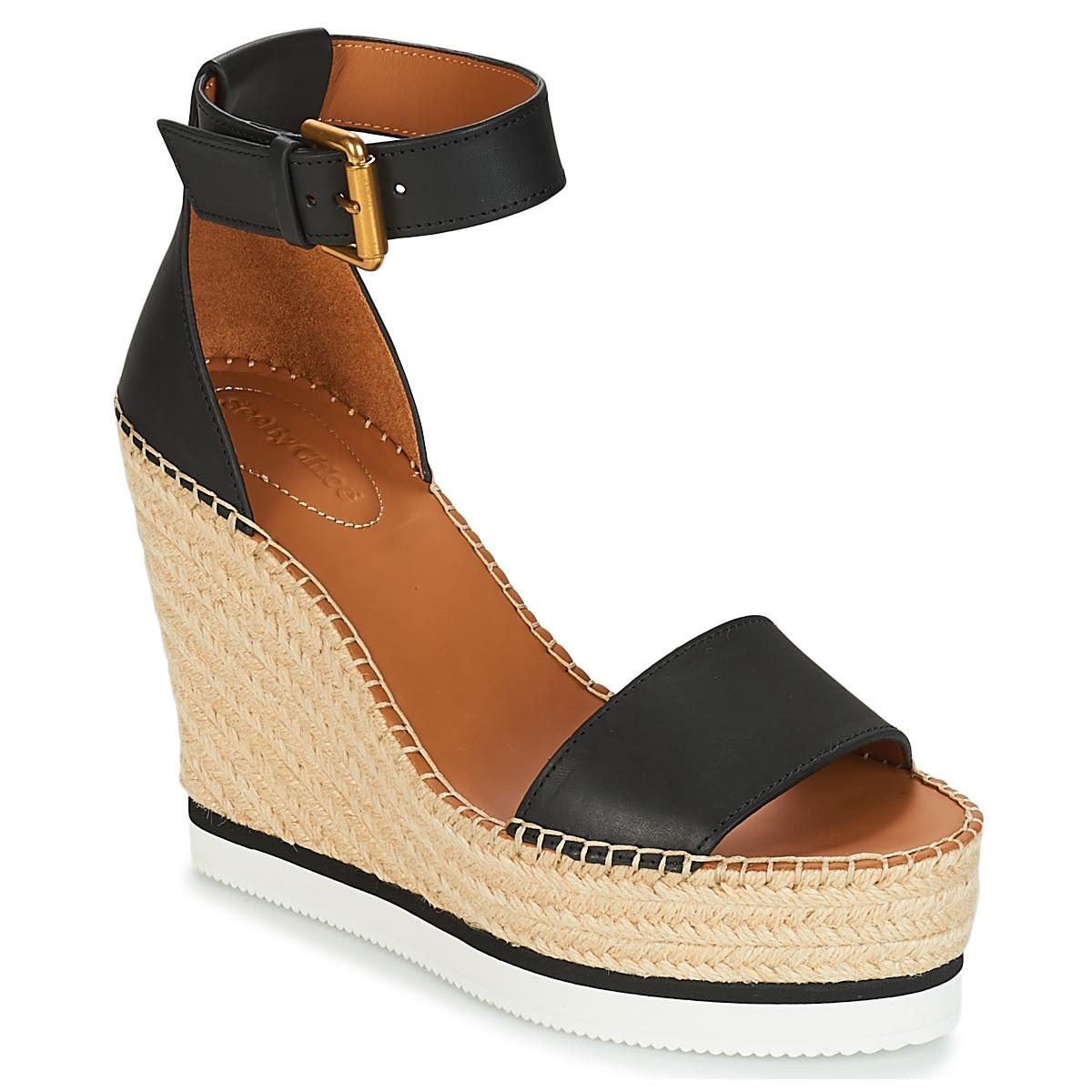 see by chlo sb26152 schwarz weiss kostenloser versand bei schuhe sandalen. Black Bedroom Furniture Sets. Home Design Ideas