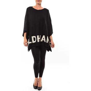Kleidung Damen Pullover De Fil En Aiguille Poncho DH3122 noir Schwarz