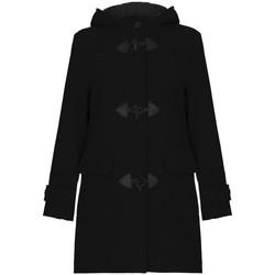 Kleidung Damen Mäntel De La Creme Winter-Kapuzen-Dufflecoat aus Wolle Black