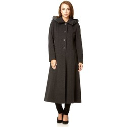 Trenchcoats De La Creme Dunkelgrau Einreiher Abnehmbare Fell Kapuze Wolle Winter-Trench-