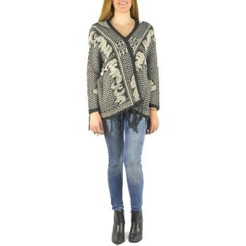 Kleidung Damen Strickjacken Barcelona Moda Gilet en laine 71171502 noir Schwarz