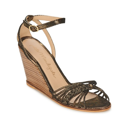 Petite Mendigote COLOMBE Schwarz / Gold Schuhe Sandalen / Sandaletten Damen 72,50