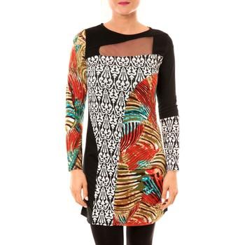 Kleidung Damen Kurze Kleider Bamboo's Fashion Robe Zoulou BW621 noir Schwarz