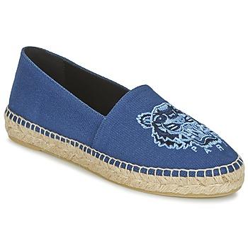 Schuhe Damen Leinen-Pantoletten mit gefloch Kenzo TIGER HEAD Blau