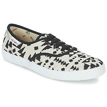 Schuhe Damen Sneaker Low Victoria INGLES GEOMETRICO LUREX Beige / Schwarz