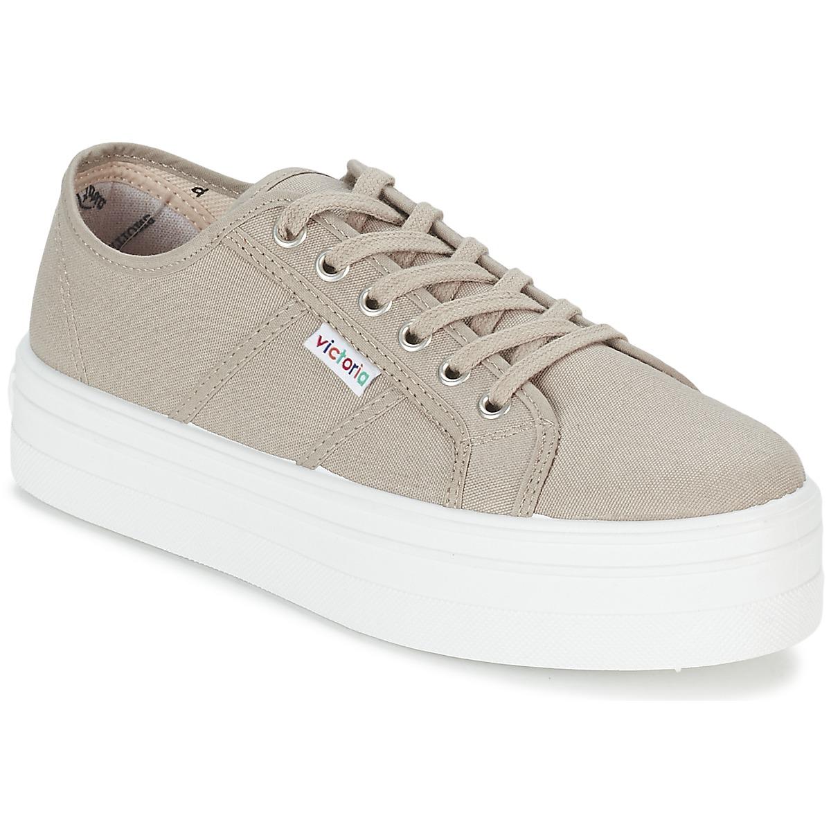 Victoria BLUCHER LONA PLATAFORMA Beige - Kostenloser Versand bei Spartoode ! - Schuhe Sneaker Low Damen 36,00 €