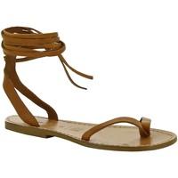 Schuhe Damen Sandalen / Sandaletten Gianluca - L'artigiano Del Cuoio 534 D CUOIO CUOIO Cuoio