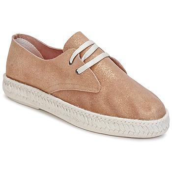 Schuhe Damen Leinen-Pantoletten mit gefloch Bunker IBIZA Gold