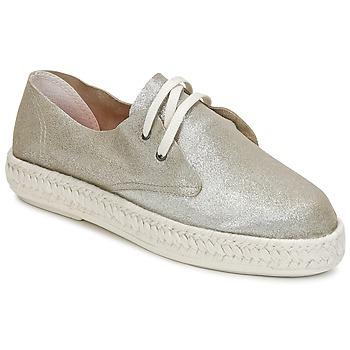 Schuhe Damen Leinen-Pantoletten mit gefloch Bunker IBIZA Silbern