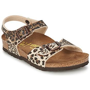 Schuhe Mädchen Sandalen / Sandaletten Birkenstock RIO Leopard / Braun