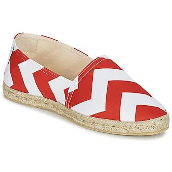 Schuhe Damen Leinen-Pantoletten mit gefloch Maiett NOUVELLE VAGUE Rot / Weiss