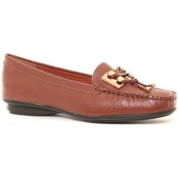 Schuhe Damen Slipper Cassis Côte d'Azur Ilario Ferucci Mocassins en cuir Lilac cognac Braun