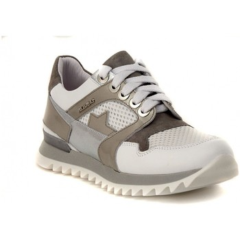 Schuhe Damen Sneaker Low Albano GINNICA NAPPA BIANCA Silbern