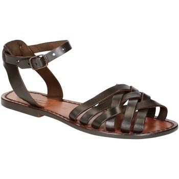 Schuhe Damen Sandalen / Sandaletten Gianluca - L'artigiano Del Cuoio 595 D MORO CUOIO Testa di Moro