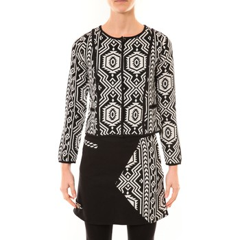Kleidung Damen Jacken / Blazers Bamboo's Fashion Veste Chiner BW682 noir et blanc Schwarz