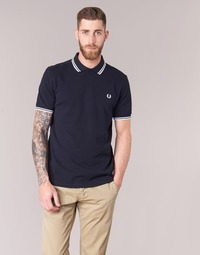 Kleidung Herren Polohemden Fred Perry SLIM FIT TWIN TIPPED Marine / Weiss