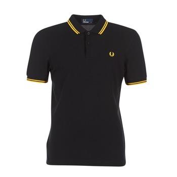 Kleidung Herren Polohemden Fred Perry SLIM FIT TWIN TIPPED Schwarz / Gelb