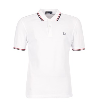 Kleidung Herren Polohemden Fred Perry SLIM FIT TWIN TIPPED Weiss / Rot
