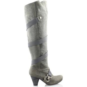 Schuhe Damen Kniestiefel Gino Vaello OIL GRAU