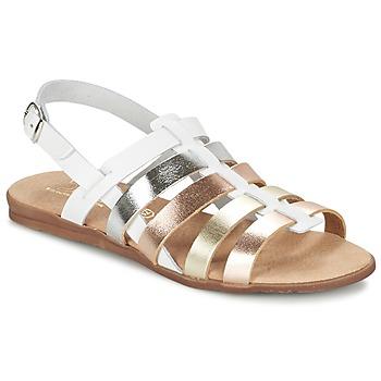 Schuhe Mädchen Sandalen / Sandaletten Citrouille et Compagnie PEQUEBELLO Weiss / Goldfarben