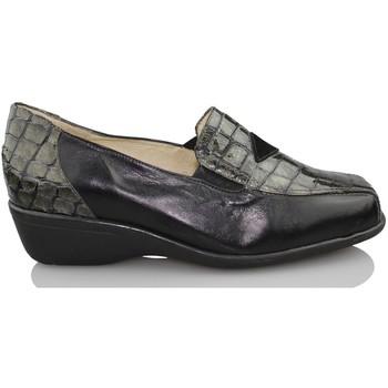Schuhe Damen Slipper Sana Pies Fußgesundheit bequeme Lackleder loafers SCHWARZ