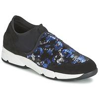 Schuhe Damen Slip on Meline LEO Schwarz / Blau