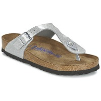 Schuhe Damen Zehensandalen Birkenstock GIZEH Silbern