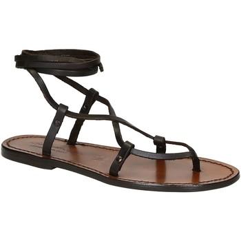 Schuhe Damen Sandalen / Sandaletten Gianluca - L'artigiano Del Cuoio 518 D MORO CUOIO Testa di Moro