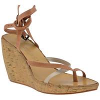 Schuhe Damen Zehensandalen Janet&Janet 5801 Zeppa 90 flip flop zehentrenner Beige