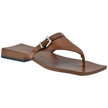 Schuhe Damen Zehensandalen Janet&Janet Leder Flip Flops flip flop zehentrenner Braun