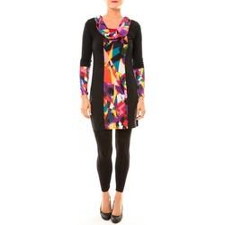 Kleidung Damen Kurze Kleider Bamboo's Fashion Robe Vintage/noir BW618 multicolor Schwarz