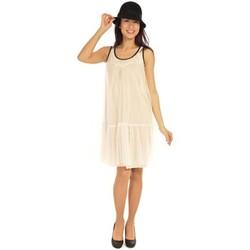 Kleidung Damen Kurze Kleider Aggabarti Robe Tulle 121008 Ecru Beige