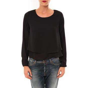 Kleidung Damen Langarmshirts By La Vitrine Top Z014 noir Schwarz