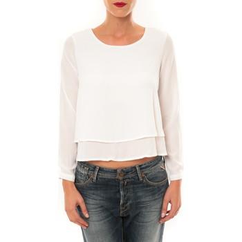 Kleidung Damen Langarmshirts By La Vitrine Top Z014 blanc Weiss