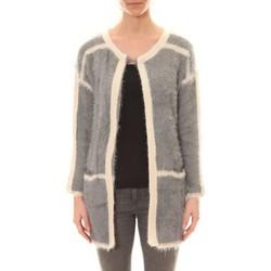 Kleidung Damen Strickjacken De Fil En Aiguille Gilet 1815 Bicolore Gris /Blanc Grau