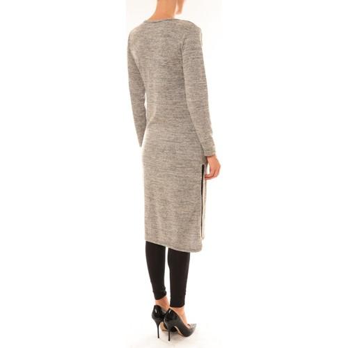 By La Vitrine Robe Plume Gris Grau - Kleidung Maxikleider Damen 1100 ED2e3